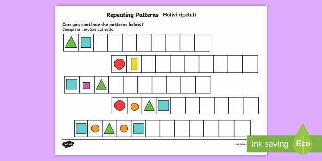 Repeating Pattern Worksheets Repeating Pattern Worksheet Worksheets Shapes and Colours