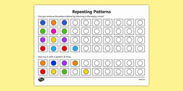 Repeating Patterns Worksheets Pattern Worksheet Worksheet Copy Recognise and Repeat