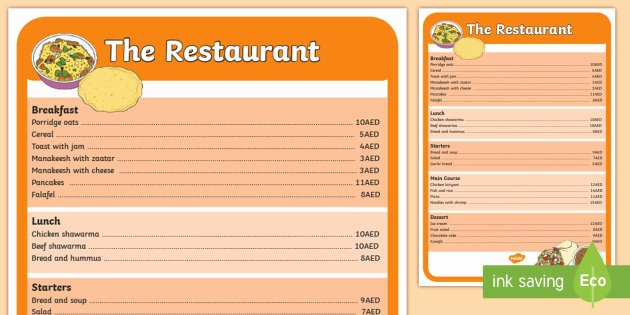 Restaurant Math Worksheets Restaurant Role Play Menu Role Play Cafe Restaurant