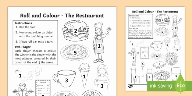 Restaurant Math Worksheets the Restaurant Aistear Roll and Colour Worksheet Aistear