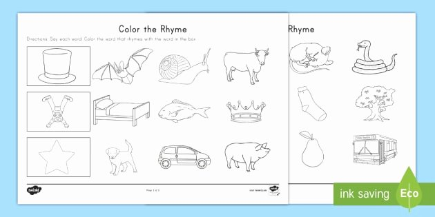 Rhyming Worksheets for Preschool Color the Rhyme Worksheet Rhyming Words Word Families