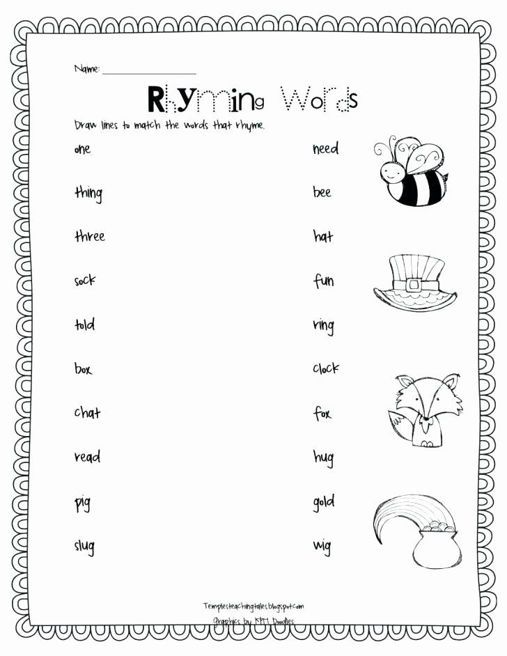 Rhyming Worksheets for Preschool Dr Seuss Rhyming Worksheets