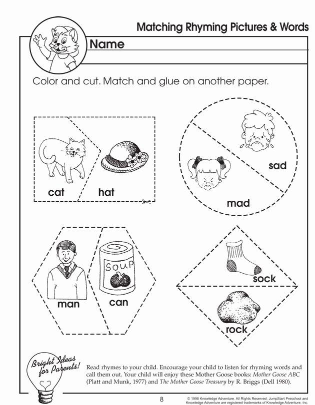 Rhyming Worksheets for Preschool Matching Rhyming and Words – Rhyming Worksheet for