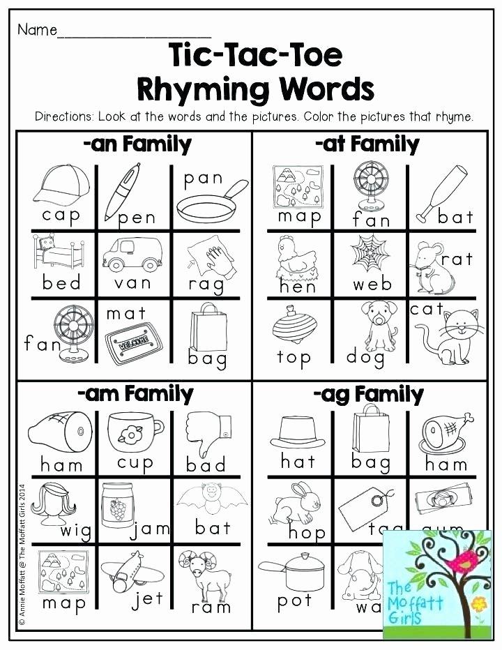 Rhyming Worksheets for Preschool Matching Rhyming Hat Printable Kindergarten School