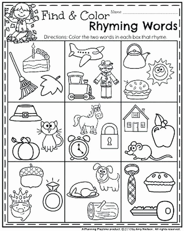 Rhyming Worksheets for Preschool Rhyming Words Kindergarten Worksheets – Primalvape