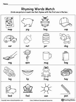 Rhyming Worksheets for Preschool Rhyming Words Match Rhyming Worksheets