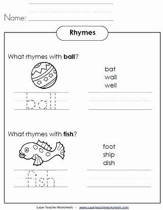 Rhyming Worksheets for Preschool Super Teacher Worksheets