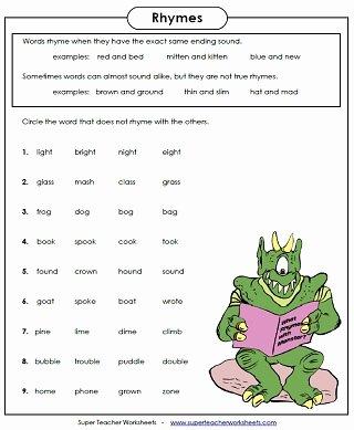 Rhyming Worksheets for Preschool Super Teacher Worksheets