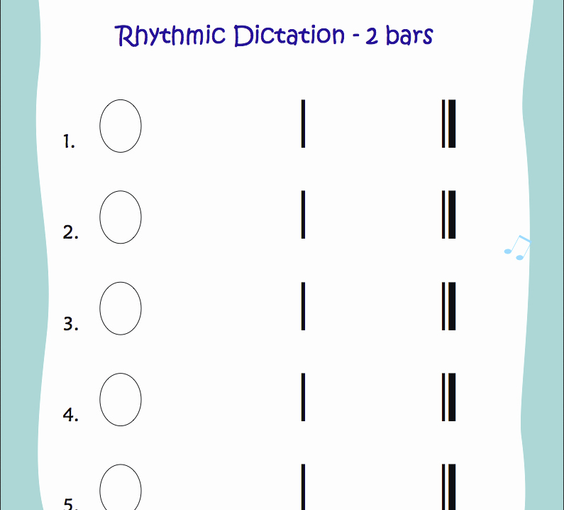 Rhythm Worksheets for Band Rhythmic Dictation Worksheet Music Class Ideas