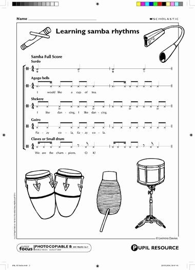 Rhythm Worksheets for Band Samba Rhythm for the Classroom