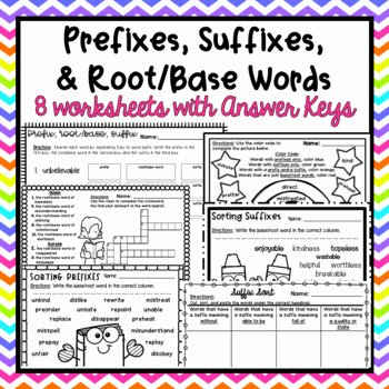 Root Word Practice Worksheet Prefixes Suffixes and Root Base Words Worksheets