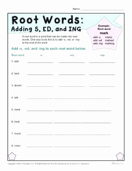 Root Word Worksheets 2nd Grade Root Words and Suffixes Worksheets Word formation Prefixes