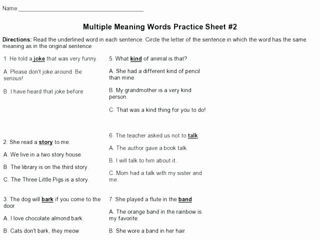 Root Word Worksheets 4th Grade Multiple Meaning Words Worksheets 4th Grade Worksheet