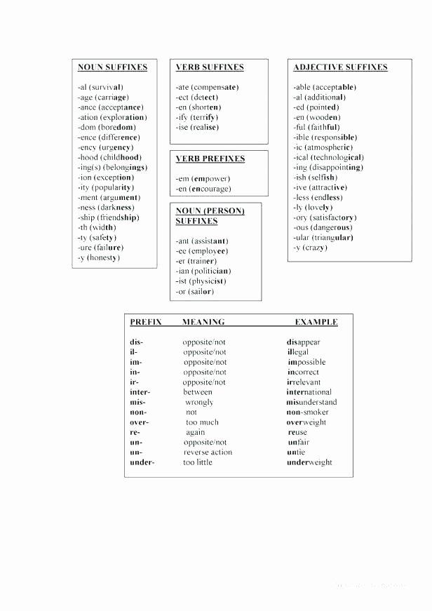 Root Word Worksheets Middle School Prefix Suffix Worksheet Grade the Best Worksheets Image