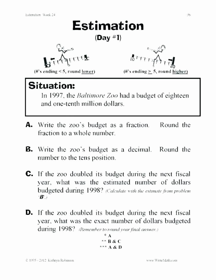 Rounding Word Problems Worksheets Third Grade Rounding Worksheets