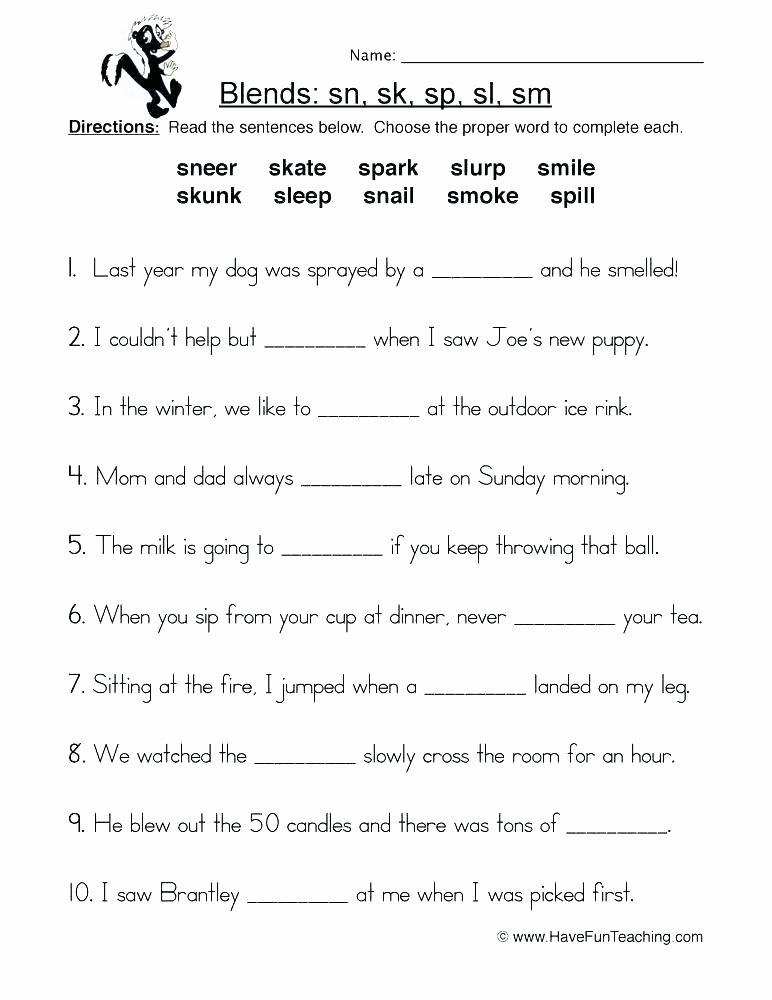 S Blend Worksheets Blending Worksheets for First Grade Consonant Blends