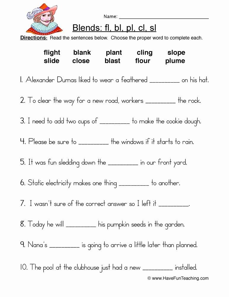 S Blend Worksheets L Blend Worksheet Coloring Free Worksheets Library