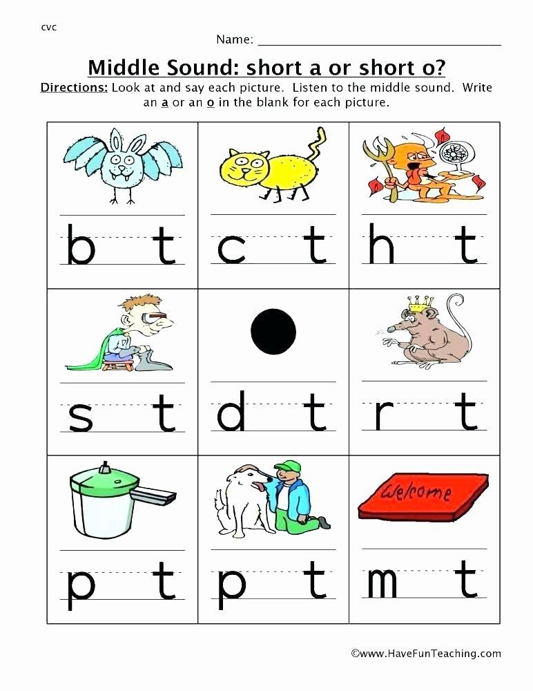 S sound Worksheet Lovely Kindergarten Middle sound Worksheets Kindergarten Middle