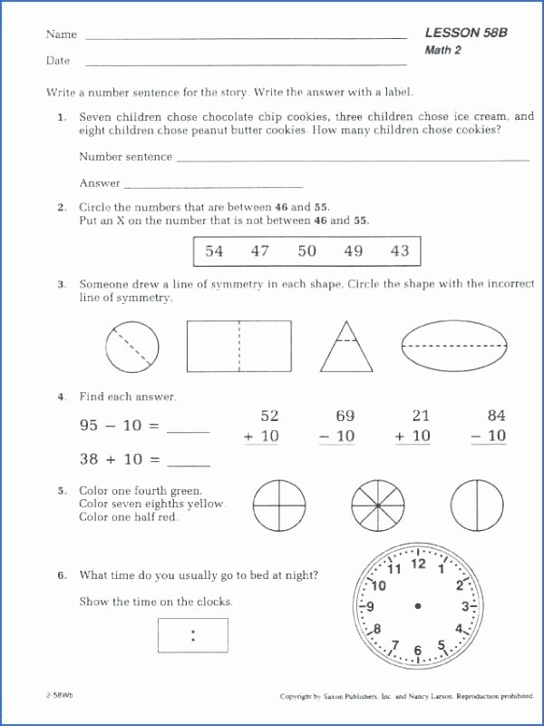 Saxon Math Worksheets 5th Grade Saxon Math Pre Algebra Worksheets – Oggy