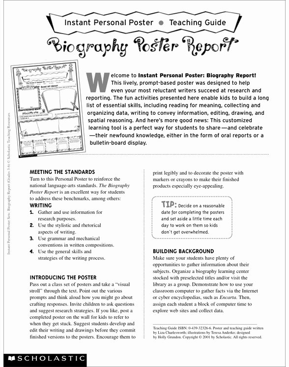 Scholastic Biography Poster Instant Personal Poster Sets Biography Report by