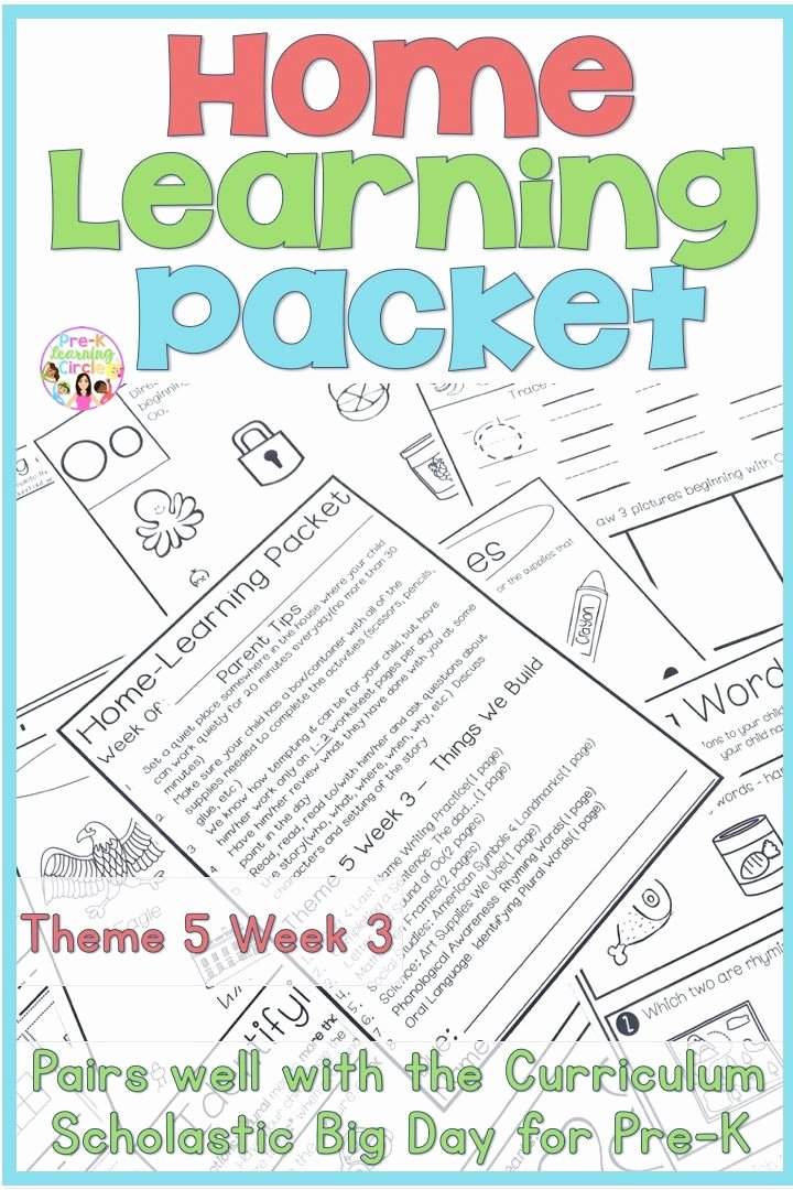 Scholastic Math Worksheets Home Learning Packet Scholastic Big Day for Pre K theme 5