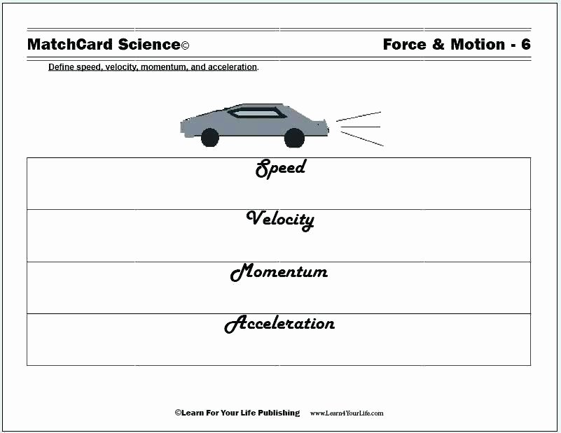Science forces and Motion Worksheets forces Motion Worksheet Work Ideas Science force and Energy