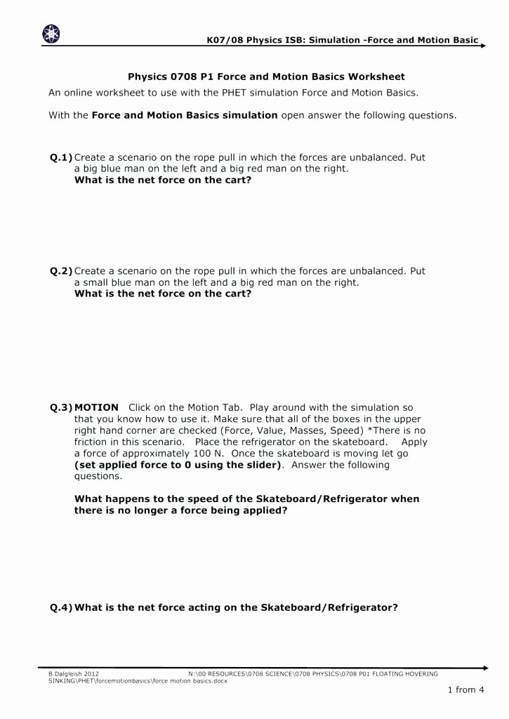 Science forces and Motion Worksheets Motion Worksheet 1 Grade with Answers forces Free Printable