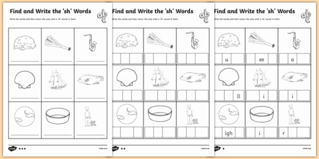 Science sound Worksheets Find and Write the Sh Words Differentiated Worksheet
