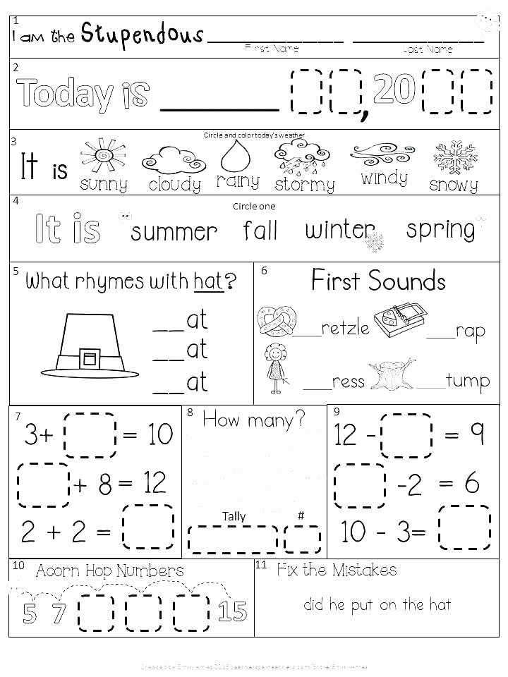 Science Weather Worksheets Morning Worksheets for Kindergarten