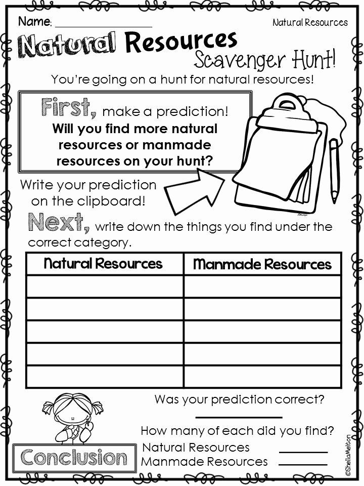 Science Worksheet First Grade Natural Resources Tpt Science Lessons