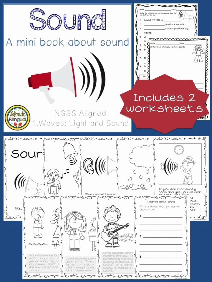 Science Worksheet First Grade sound Mini Book and Worksheets Ngss Aligned