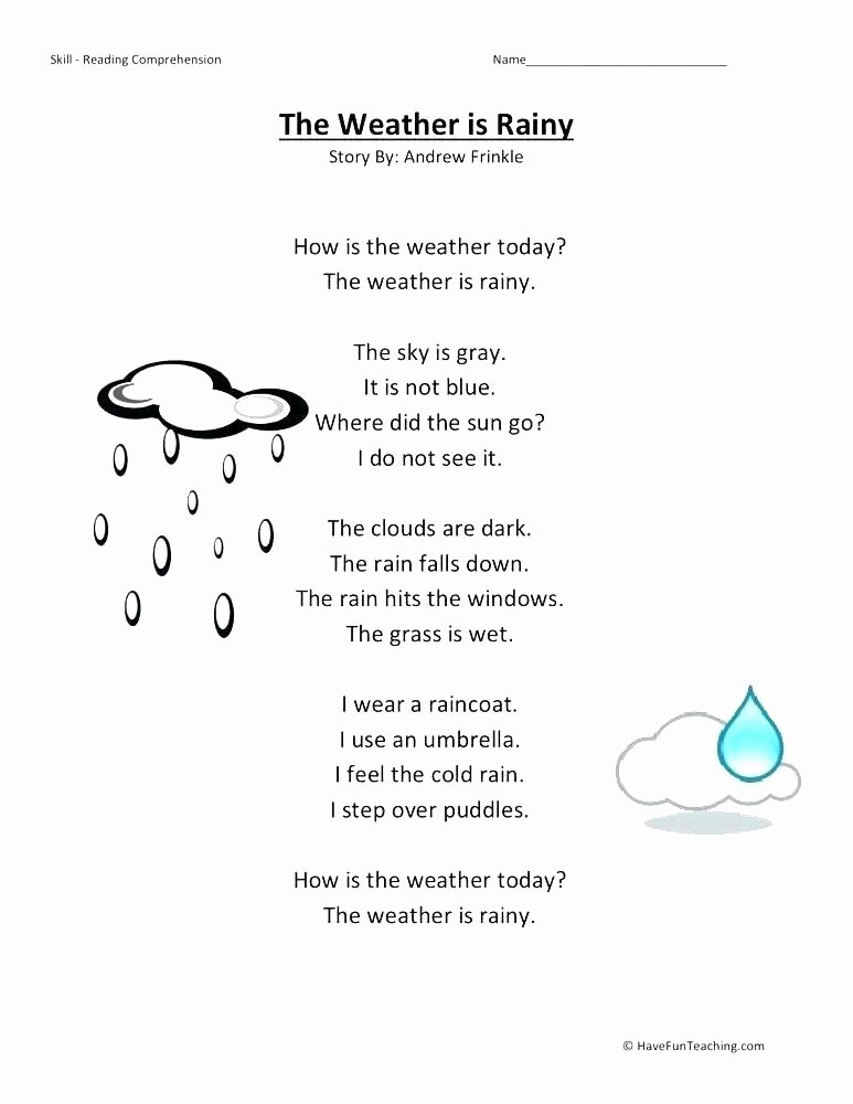 Science Worksheets for Kindergarten Free Rain Worksheets for Preschool