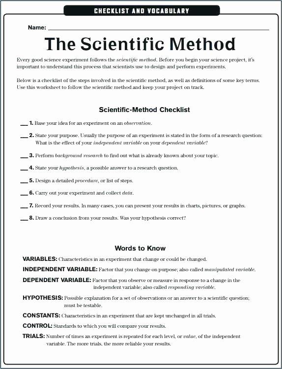 Scientific Method Worksheets 5th Grade Scientific Method for Middle School Worksheets