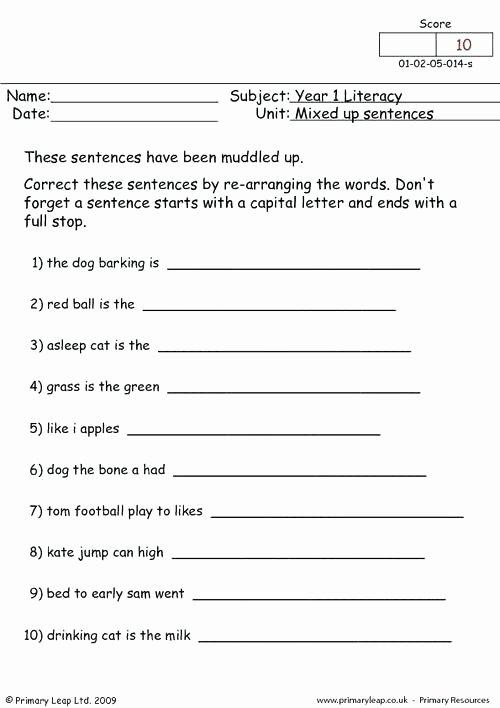 Scrambled Sentences Worksheets 2nd Grade Mixed Up Sentences 1 Worksheet for My son Worksheets 2nd Grade