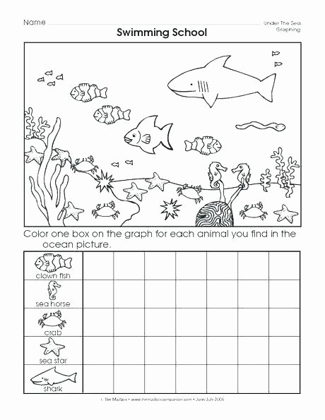 Sea Animal Worksheets Count and Color Worksheets Kindergarten Graph Worksheet