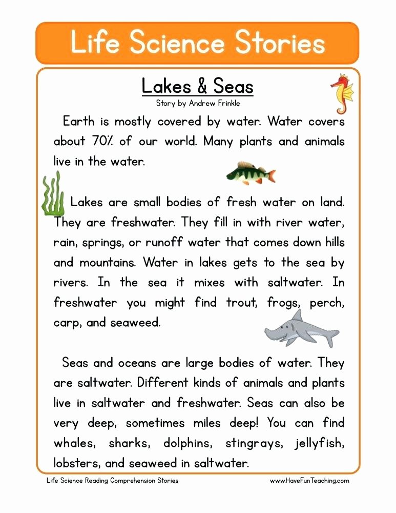 Sea Animal Worksheets Science Prehension Worksheets