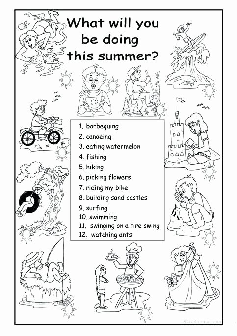 Seasons Worksheets for First Grade Free Summer Worksheets