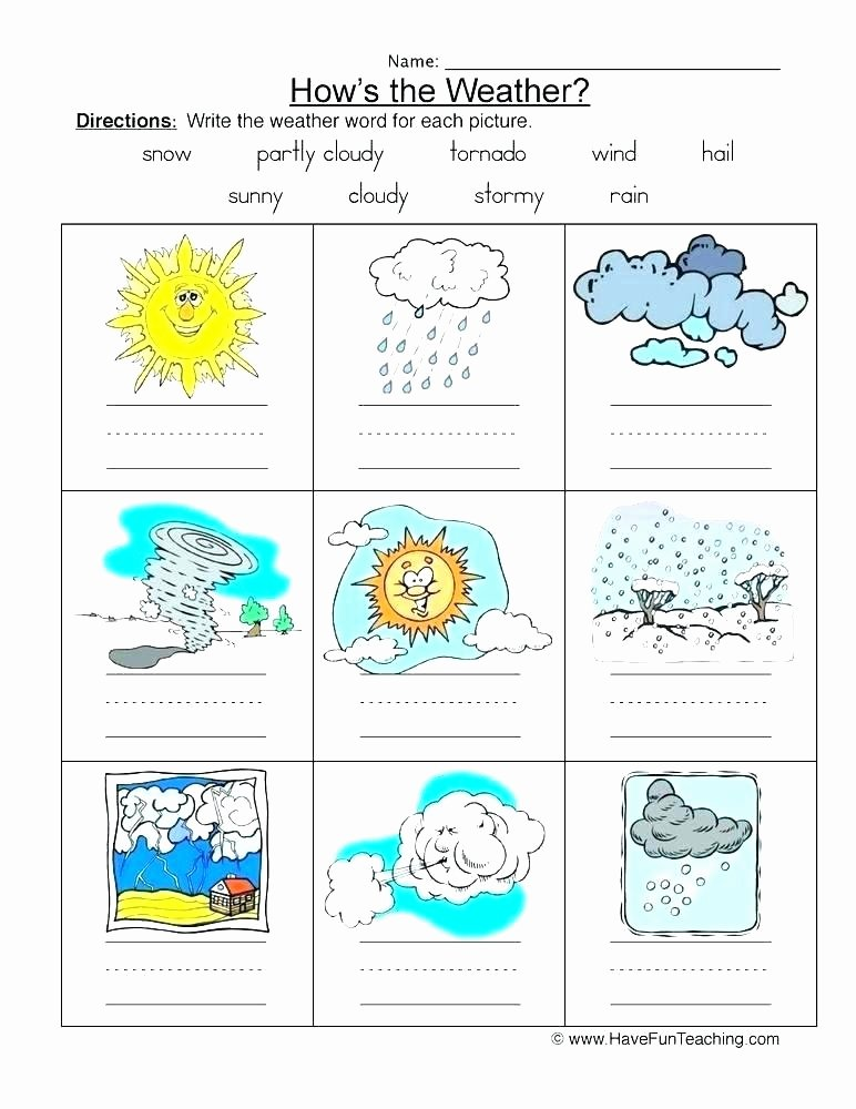 Seasons Worksheets for First Grade Weather and Climate Worksheets