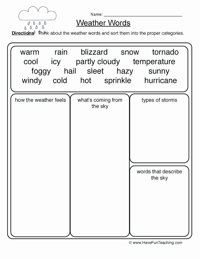 Seasons Worksheets for First Grade Weather Worksheets for Grade 2 Resources Science Weather
