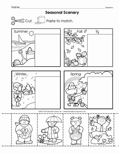 Seasons Worksheets for Kindergarten Omalovánka Ročn Obdob Weather