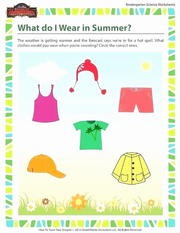 Seasons Worksheets for Kindergarten Summer Worksheets for Kindergarten