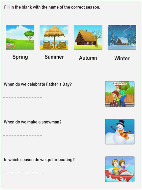 Seasons Worksheets Kindergarten Seasons Worksheet