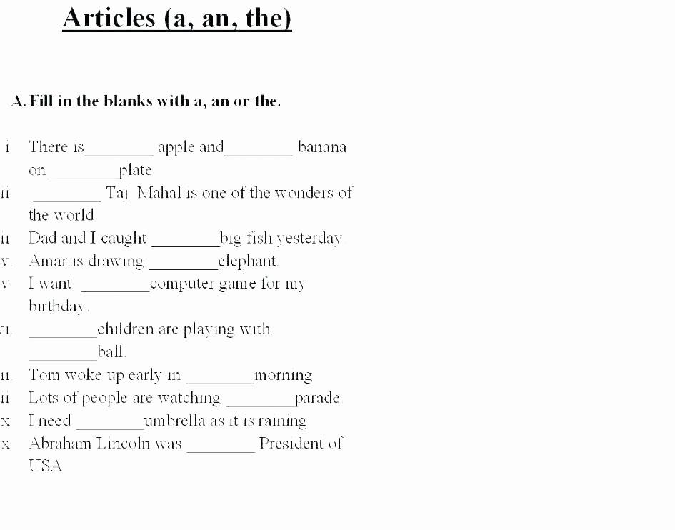 Second Grade Grammar Worksheets Worksheet 4 Fun with Grammar Class 6 Articles Worksheets