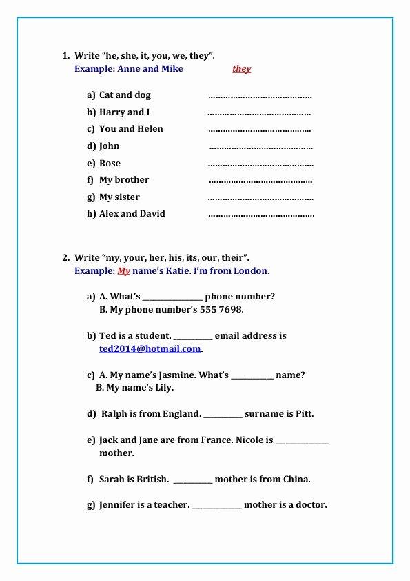 Second Grade Pronoun Worksheets Adjective Worksheets 2nd Grade Elegant 119 Free Possessive