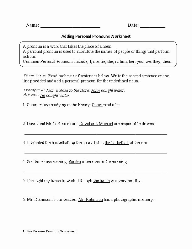 Second Grade Pronouns Worksheet Adding Personal Pronouns Worksheet Worksheets Pronoun and