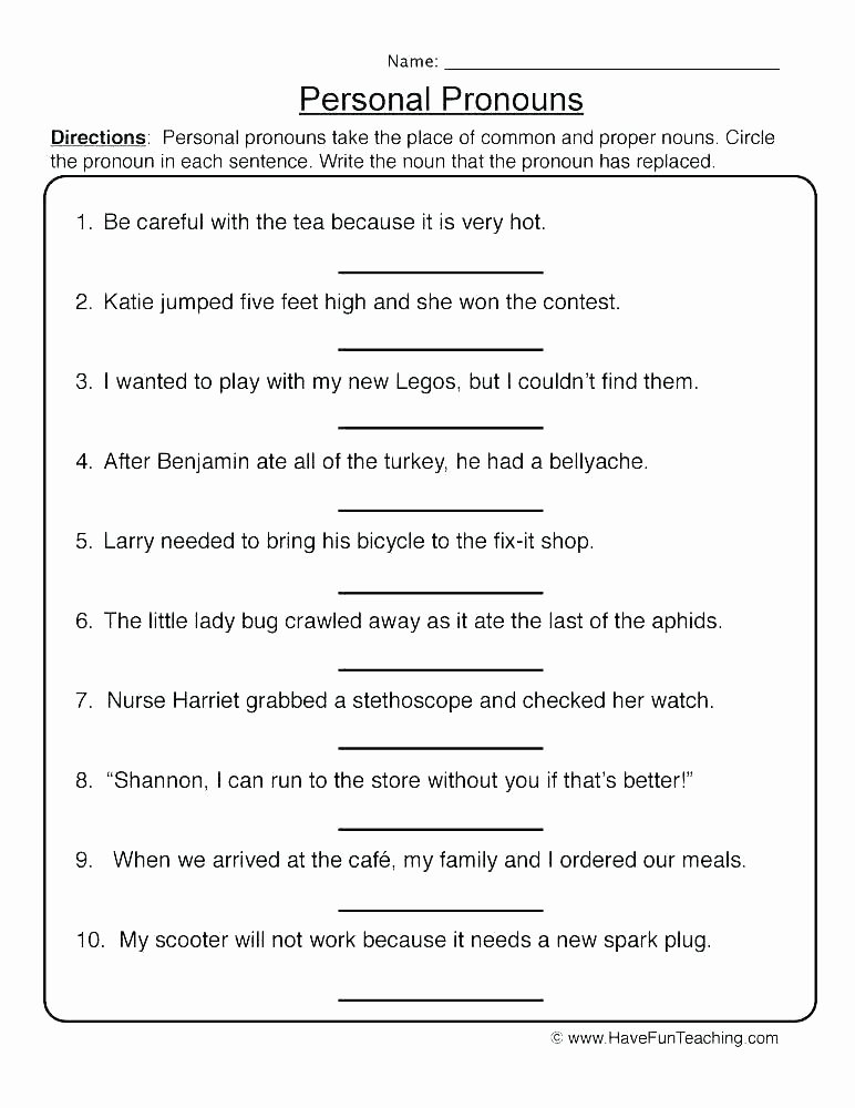 Second Grade Pronouns Worksheet Grade Grammar Worksheets Adverbs First Sentence Image for 2