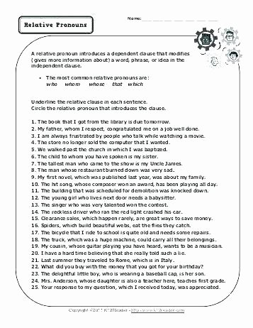 Second Grade Pronouns Worksheet Kinds Of Pronouns Worksheets with Answers