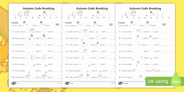 code breaking worksheets new fall themed place value code breaking activity sheet pack maths code breaking worksheets pdf