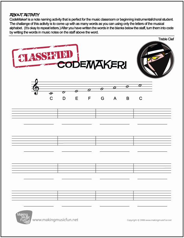 Secret Code Worksheets Pdf Music theory Worksheets and More