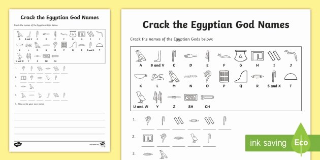 Secret Message Worksheets Crack the Hieroglyphs Egyptian God Names Worksheet